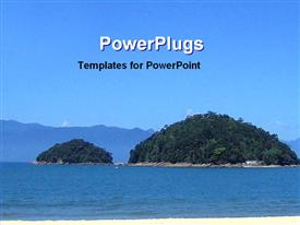 PowerPoint template displaying day time view beautiful small island middle sea