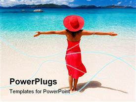 PowerPoint template displaying beautiful woman on tropical beach in red dress in the background.