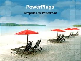 Chairs and umbrellas on empty sand beach powerpoint template