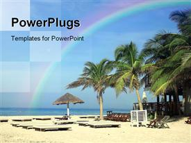 PowerPoint template displaying coconut palms parasol and sun beds on tropical beach in the background.