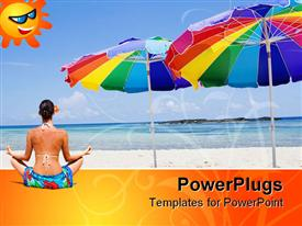 PowerPoint template displaying back of woman doing yoga on a beach with two large colorful umbrellas and happy sun wearing sunglasses