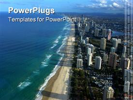 Famous Gold Coast beach strip of Australia powerpoint template