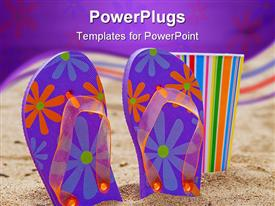 PowerPoint template displaying flip flops and a colorful cup on a beach in the sun in the background.