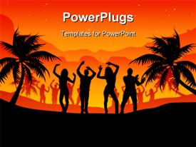 PowerPoint template displaying silhouette of people dancing on beach with palm trees