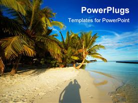 PowerPoint template displaying shadow of happy couple on beach sand with palms and blue sky