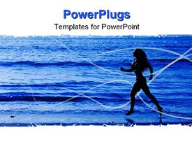 Healthy life concept - sporty woman running along beach in the morning powerpoint design layout