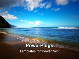 PowerPoint template displaying kee beach, Kauai, Hawaii on Kauai Hawaii in the background.