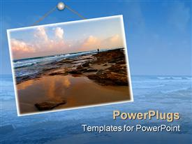 PowerPoint template displaying man standing on a sea shore