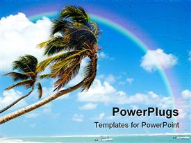 PowerPoint template displaying beach with blue river, leaning palm trees, and a rainbow