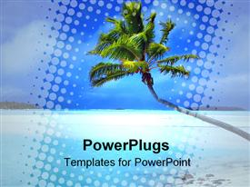 PowerPoint template displaying beautiful tropical blue beach leaning palm tree