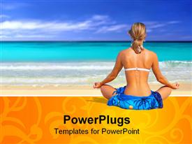 PowerPoint template displaying depiction of a beautiful woman in a sarong meditating on the beach in Hawaii in the background.