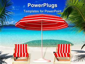 PowerPoint template displaying picture of a red and white beach setting with blue sky