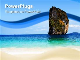 PowerPoint template displaying sand, clear water and blue sky from Krabi Island Thailand