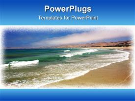 PowerPoint template displaying sandy Beach with Aqua Green Waves Breaking