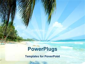 Sandy beach with palms powerpoint design layout