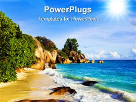 PowerPoint template displaying tropical beach sea water trees light blue sky sun