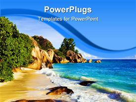 PowerPoint template displaying tropical beach with rocks and green plants next to blue ocean
