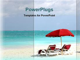 PowerPoint template displaying beach scene with red lounge chairs and umbrella, travel, vacation, holiday