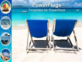 PowerPoint template displaying two blue lounge chairs beach, umbrella, feet sand, vacation, travel, tropical, island