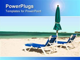 PowerPoint template displaying two sun beds with umbrella on a tropical beach in the background.