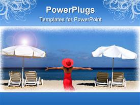 Two white umbrellas with sun loungers on a tropical beach template for powerpoint