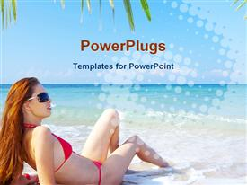 PowerPoint template displaying view of a nice young female in tropical environment in the background.