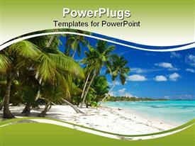 Wild Caribbean beach landscape in Dominican Republic presentation background