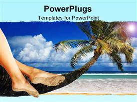 PowerPoint template displaying woman Dangling Her Feet While Sitting on a Palm Tree Overlooking the Ocean in the background.