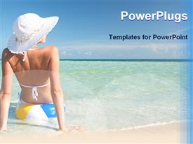 PowerPoint template displaying woman setting on a beach