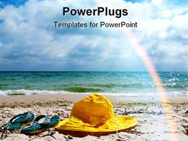 PowerPoint template displaying yellow hat and blue striped flip flops on the beach with sea water and rainbow