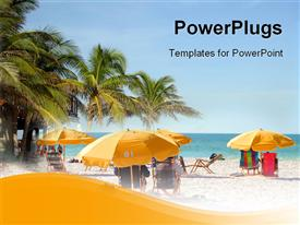 People relaxing on beach chairs under umbrellas in clear water beach Florida USA presentation background