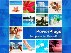 Collage made with beautiful tropical resort shots powerpoint design layout