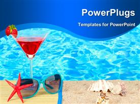 PowerPoint template displaying beach composition of fashionable women's sunglasses and a refreshing drink