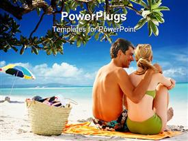 PowerPoint template displaying a couple enjoying their time on a beach