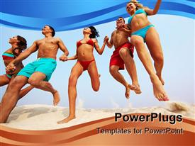 Portrait of happy friends holding by hands and jumping over sandy shore powerpoint template
