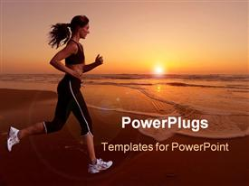 PowerPoint template displaying woman running during a beautiful sunset on the beach