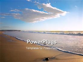 PowerPoint template displaying sea waves moving towards beach with blue cloudy sky overhead