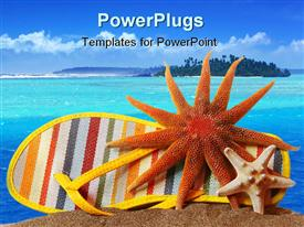 Shoe and starfish on sand with white background powerpoint design layout