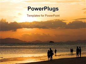 Peoples on beach look to sunset powerpoint theme