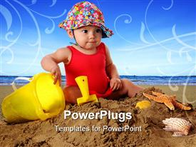 Adorable baby girl in a bathing suit and sun-hat playing in the sand template for powerpoint