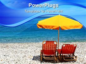 PowerPoint template displaying chairs and an umbrella sit calmly on a beach in Greece while waves lap at the shore