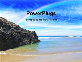 PowerPoint template displaying quiet secluded beach in Cornwall England UK in the background.