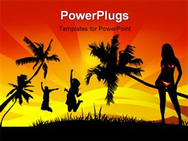 PowerPoint template displaying a number of girls happy in the jungle