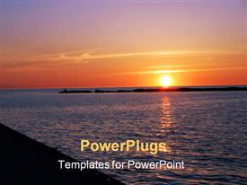PowerPoint template displaying sunset over Big Water Lake Huron Kincardine Ontario