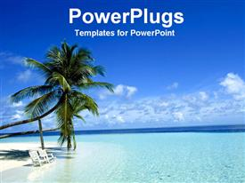 PowerPoint template displaying two palm trees white beach chairs blue ocean island metaphor