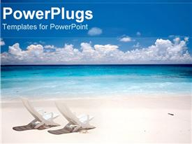 PowerPoint template displaying two chairs on a beach white sand blue water and sky vacation getaway