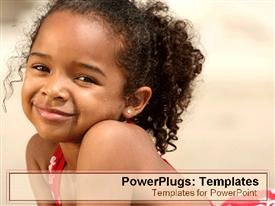 PowerPoint template displaying cute young girl with long hair smiling as she lay on beach