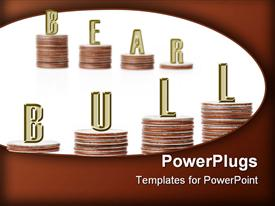 Bull vs. bear graph bars formed of two rows of American quarter coin piles powerpoint template