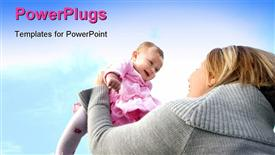 PowerPoint template displaying a mother playing with her child