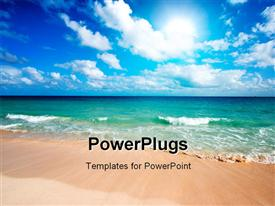 PowerPoint template displaying beautiful beach and waves of Caribbean Sea in the background.